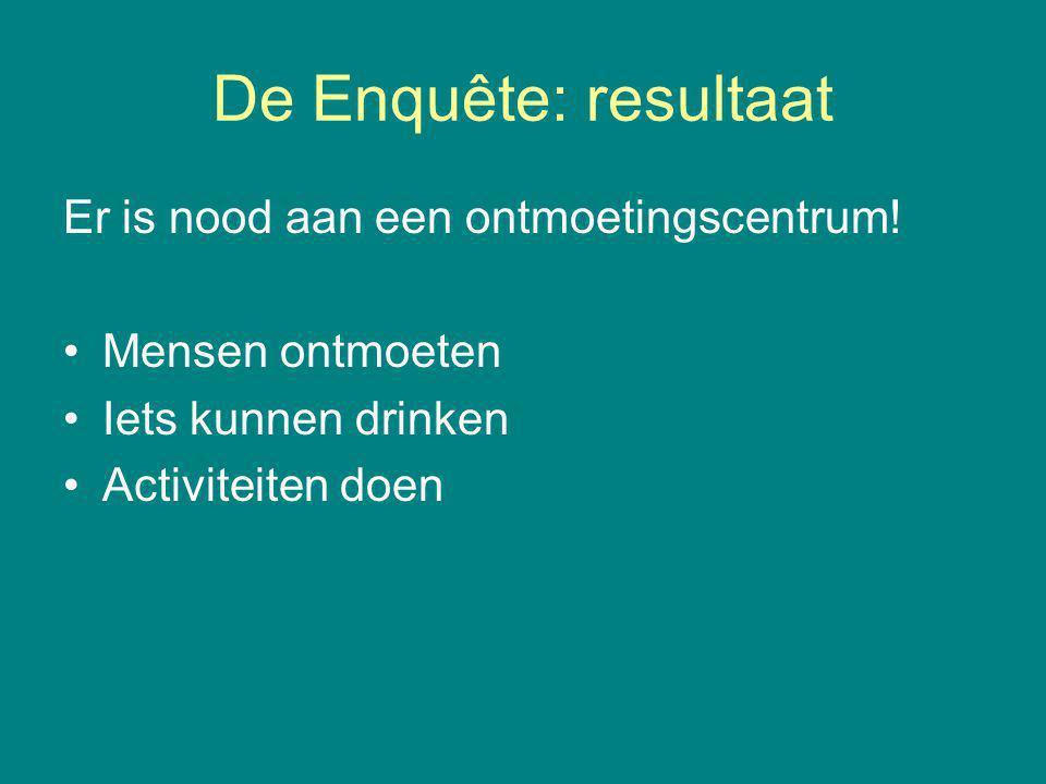 De Enquête: resultaat Er is nood aan een ontmoetingscentrum.