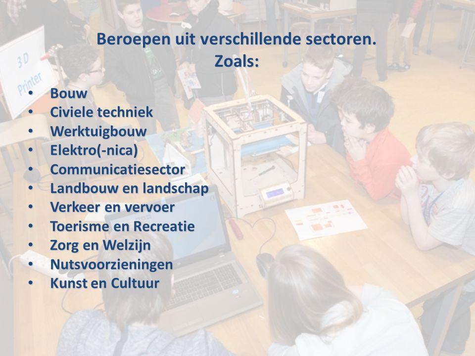 Beroepen uit verschillende sectoren. Zoals: Bouw Bouw Civiele techniek Civiele techniek Werktuigbouw Werktuigbouw Elektro(-nica) Elektro(-nica) Commun