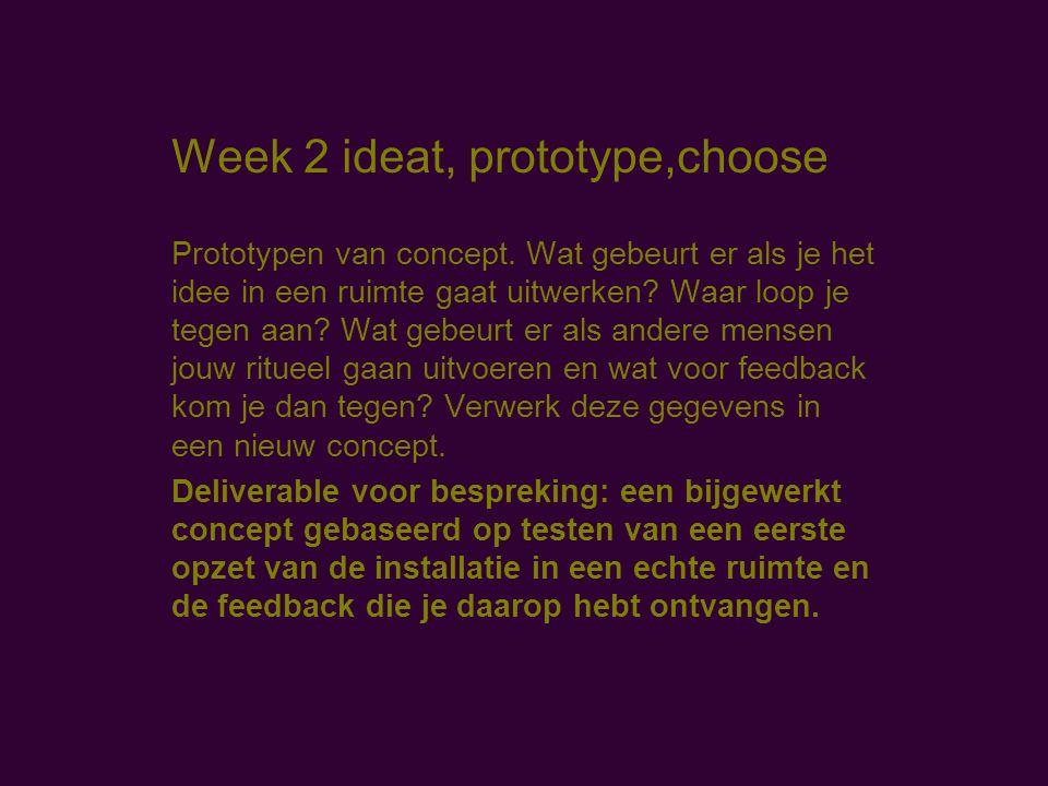 Week 2 ideat, prototype,choose Prototypen van concept.