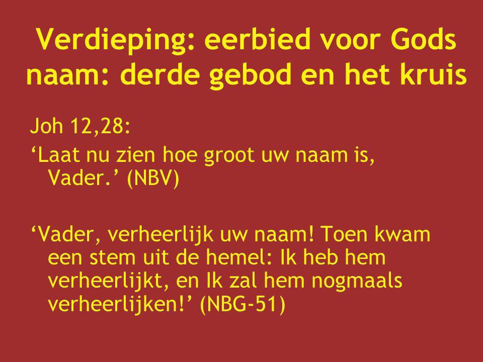 Verdieping: eerbied voor Gods naam: derde gebod en het kruis Joh 12,28: 'Laat nu zien hoe groot uw naam is, Vader.' (NBV) 'Vader, verheerlijk uw naam!