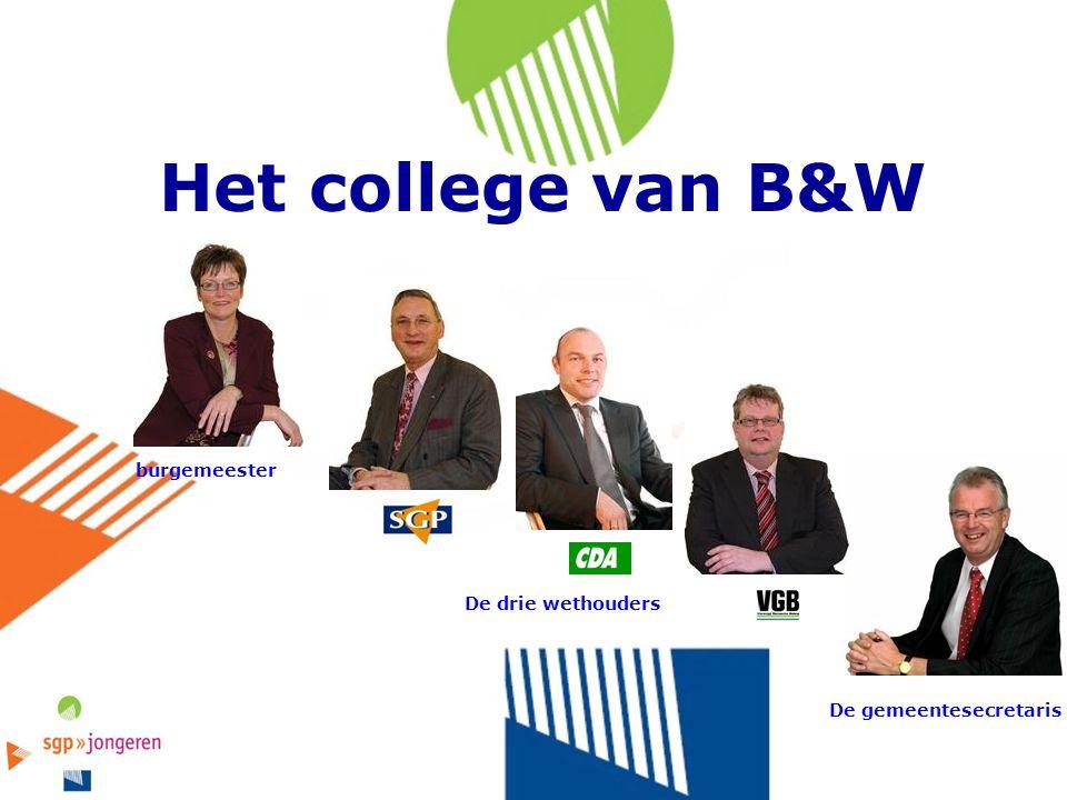 Het college van B&W burgemeester De gemeentesecretaris De drie wethouders