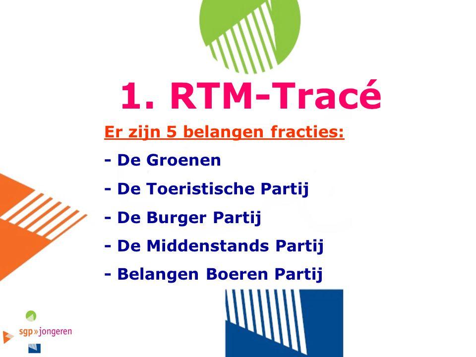 1. RTM-Tracé Er zijn 5 belangen fracties: - De Groenen - De Toeristische Partij - De Burger Partij - De Middenstands Partij - Belangen Boeren Partij