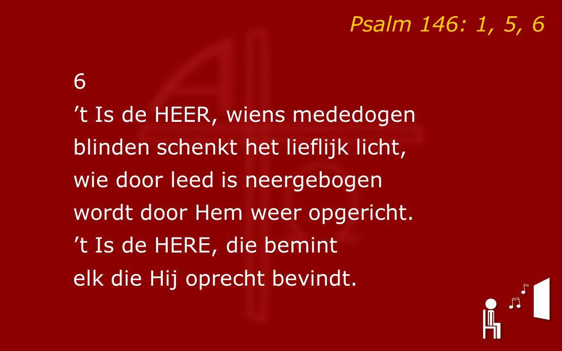 Psalm 146: 1, 5, 6 6 't Is de HEER, wiens mededogen blinden schenkt het lieflijk licht, wie door leed is neergebogen wordt door Hem weer opgericht.