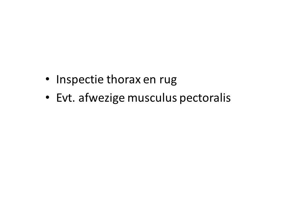 Inspectie thorax en rug Evt. afwezige musculus pectoralis