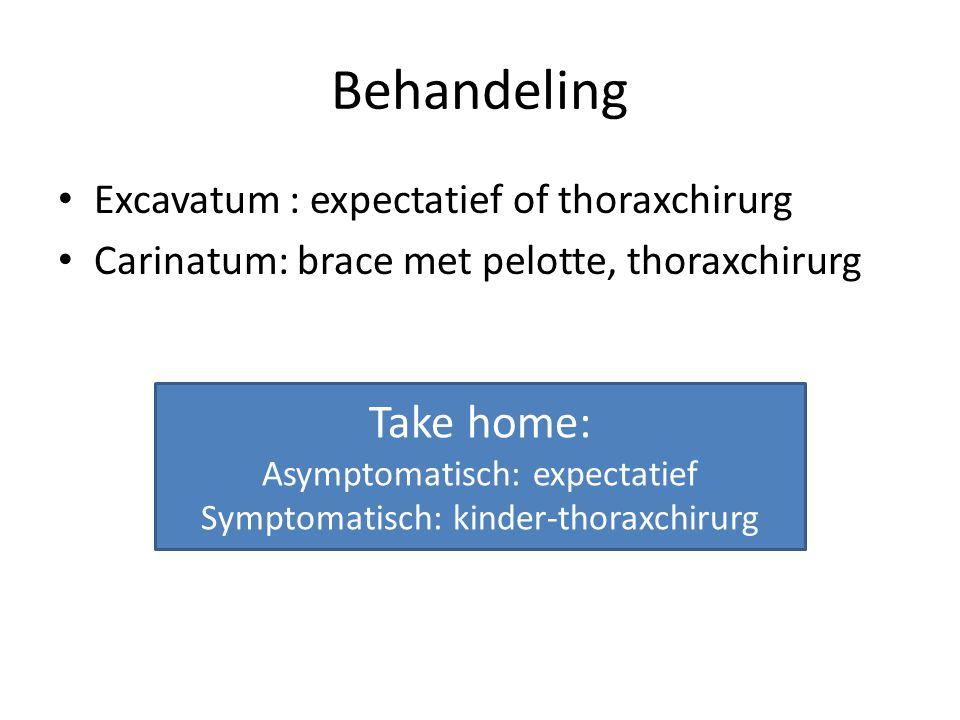 Behandeling Excavatum : expectatief of thoraxchirurg Carinatum: brace met pelotte, thoraxchirurg Take home: Asymptomatisch: expectatief Symptomatisch: