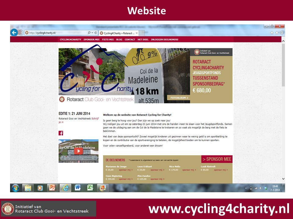 Website www.cycling4charity.nl
