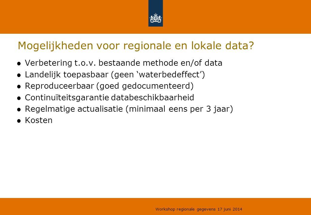 Mogelijkheden voor regionale en lokale data? ●Verbetering t.o.v. bestaande methode en/of data ●Landelijk toepasbaar (geen 'waterbedeffect') ●Reproduce
