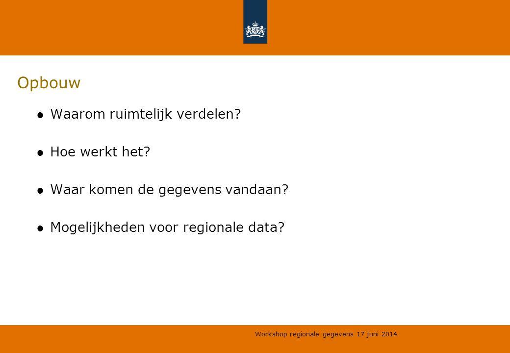 Workshop regionale gegevens 17 juni 2014 Opbouw ●Waarom ruimtelijk verdelen? ●Hoe werkt het? ●Waar komen de gegevens vandaan? ●Mogelijkheden voor regi