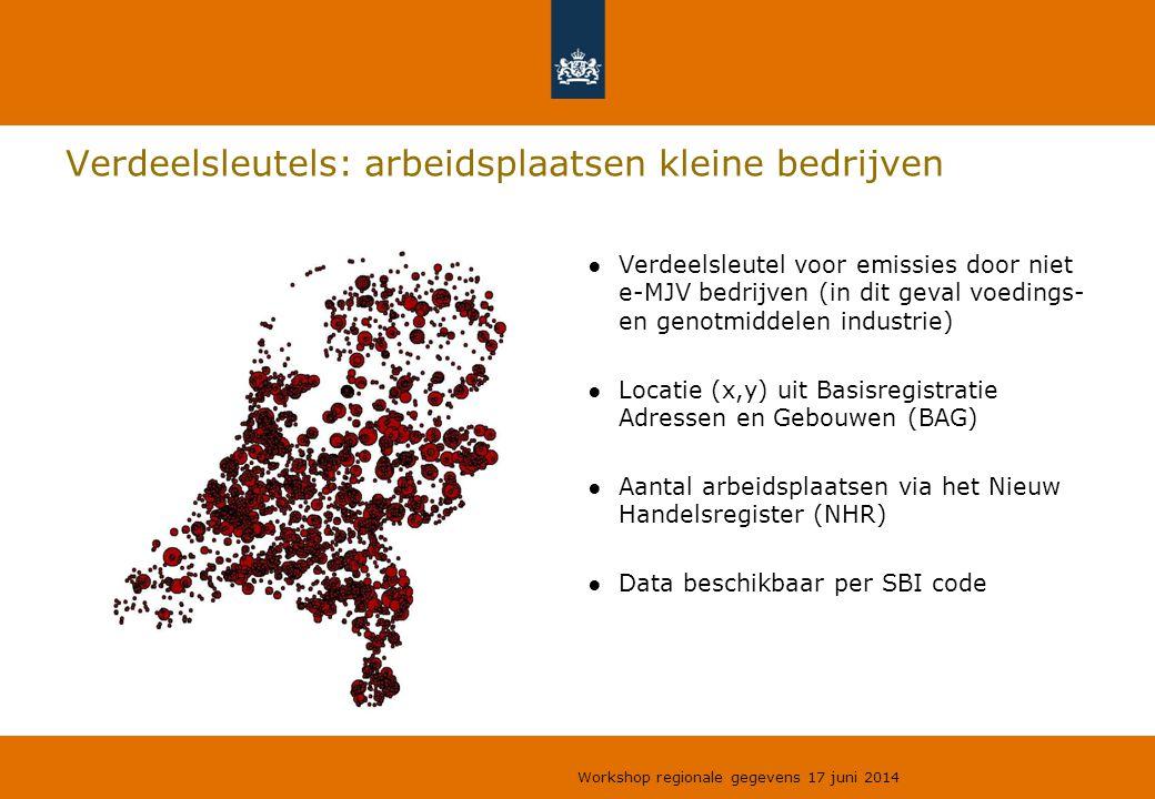 Verdeelsleutels: arbeidsplaatsen kleine bedrijven ●Verdeelsleutel voor emissies door niet e-MJV bedrijven (in dit geval voedings- en genotmiddelen ind