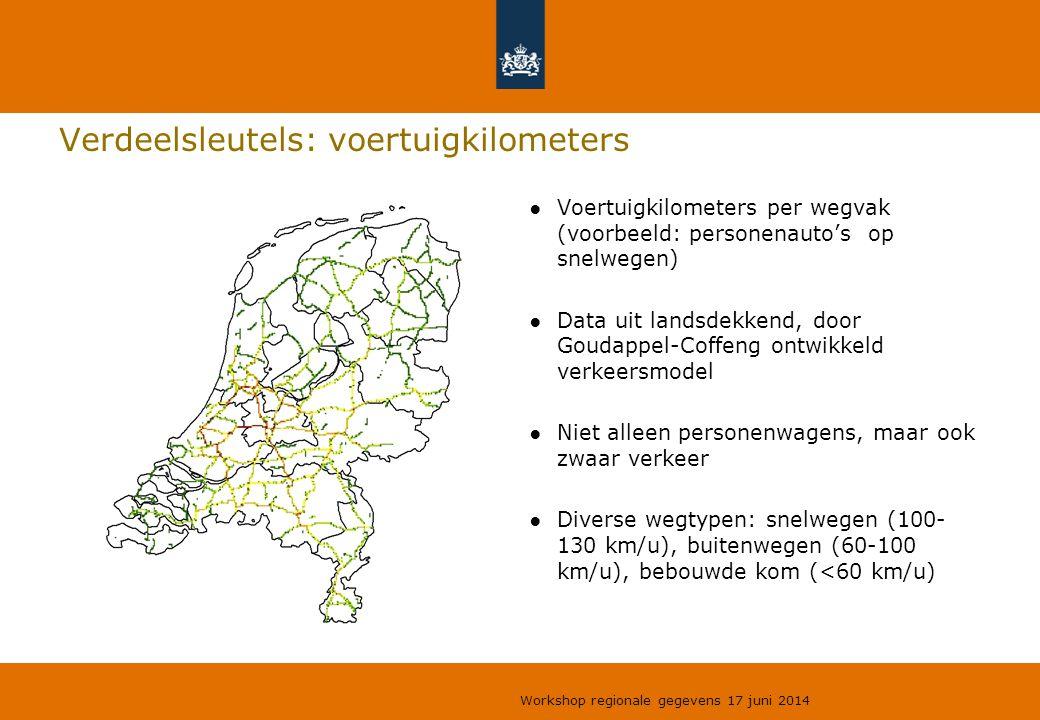 Verdeelsleutels: voertuigkilometers ●Voertuigkilometers per wegvak (voorbeeld: personenauto's op snelwegen) ●Data uit landsdekkend, door Goudappel-Cof