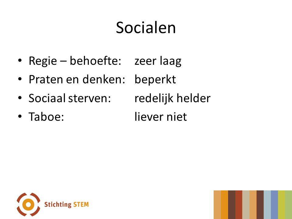 Socialen Regie – behoefte: zeer laag Praten en denken:beperkt Sociaal sterven:redelijk helder Taboe:liever niet