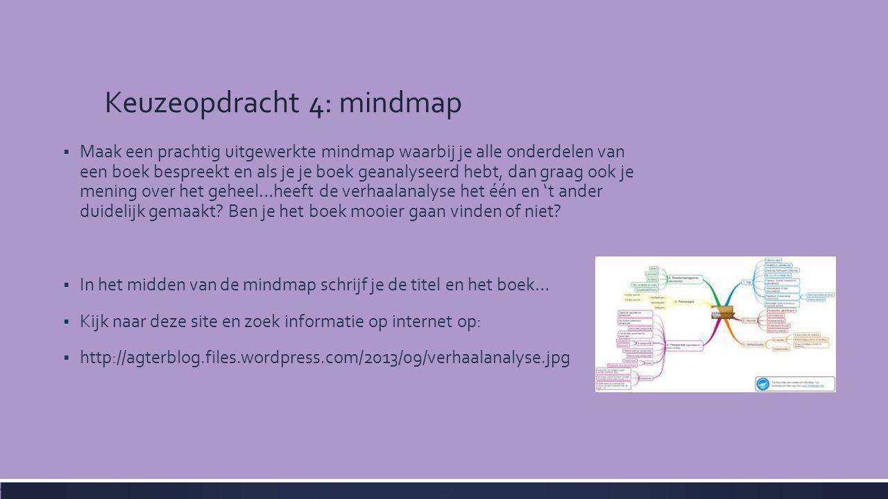 Keuzeopdracht 4: mindmap  Maak een prachtig uitgewerkte mindmap waarbij je alle onderdelen van een boek bespreekt en als je je boek geanalyseerd hebt