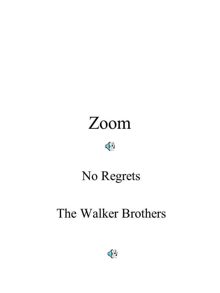 Zoom No Regrets The Walker Brothers