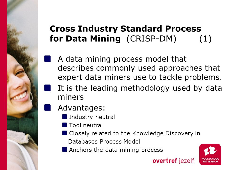 Cross Industry Standard Process for Data Mining (CRISP-DM) (1) A data mining process model that describes commonly used approaches that expert data miners use to tackle problems.