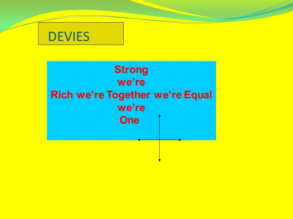DEVIES Strong we're Rich we're Together we're Equal we're One