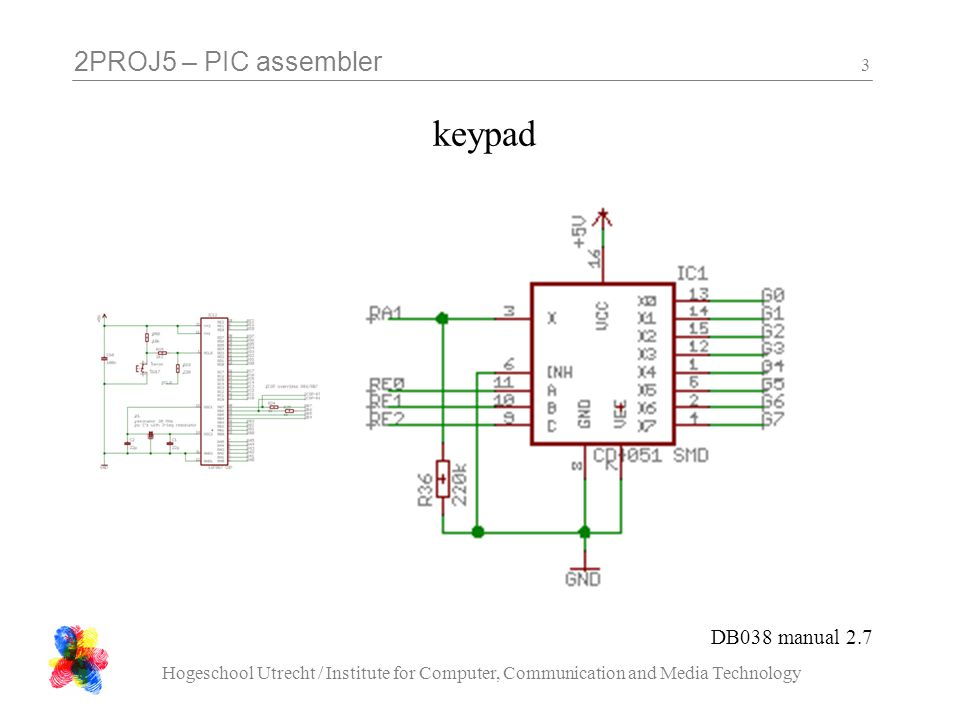 2PROJ5 – PIC assembler Hogeschool Utrecht / Institute for Computer, Communication and Media Technology 3 keypad DB038 manual 2.7