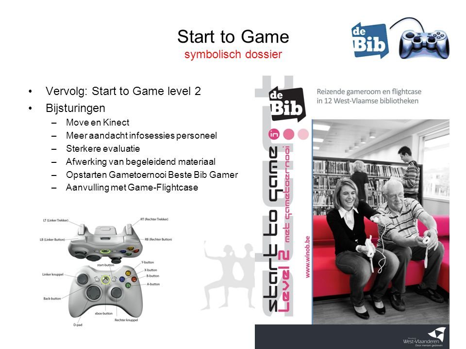 Start to Game symbolisch dossier •Vervolg: Start to Game level 2 •Bijsturingen –Move en Kinect –Meer aandacht infosessies personeel –Sterkere evaluatie –Afwerking van begeleidend materiaal –Opstarten Gametoernooi Beste Bib Gamer –Aanvulling met Game-Flightcase