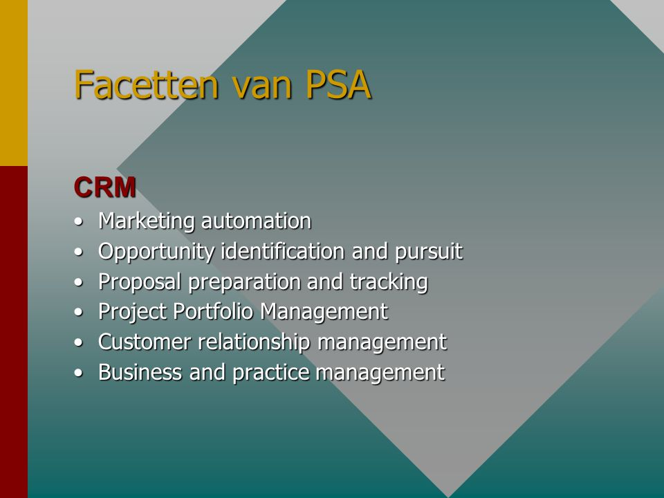 Facetten van PSA CRM •Marketing automation •Opportunity identification and pursuit •Proposal preparation and tracking •Project Portfolio Management •Customer relationship management •Business and practice management