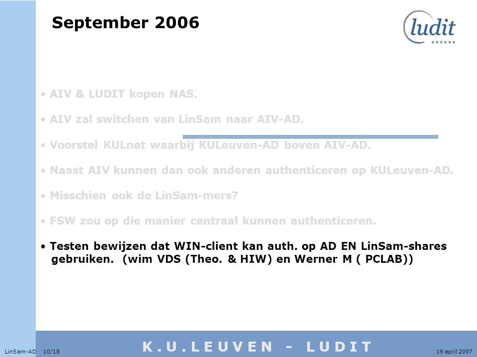 K. U. L E U V E N - L U D I T September 2006 LinSam-AD 10/1819 april 2007 • AIV & LUDIT kopen NAS.