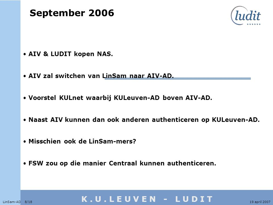 K. U. L E U V E N - L U D I T September 2006 LinSam-AD 8/1819 april 2007 • AIV & LUDIT kopen NAS.