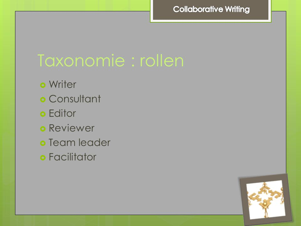 Taxonomie : rollen  Writer  Consultant  Editor  Reviewer  Team leader  Facilitator