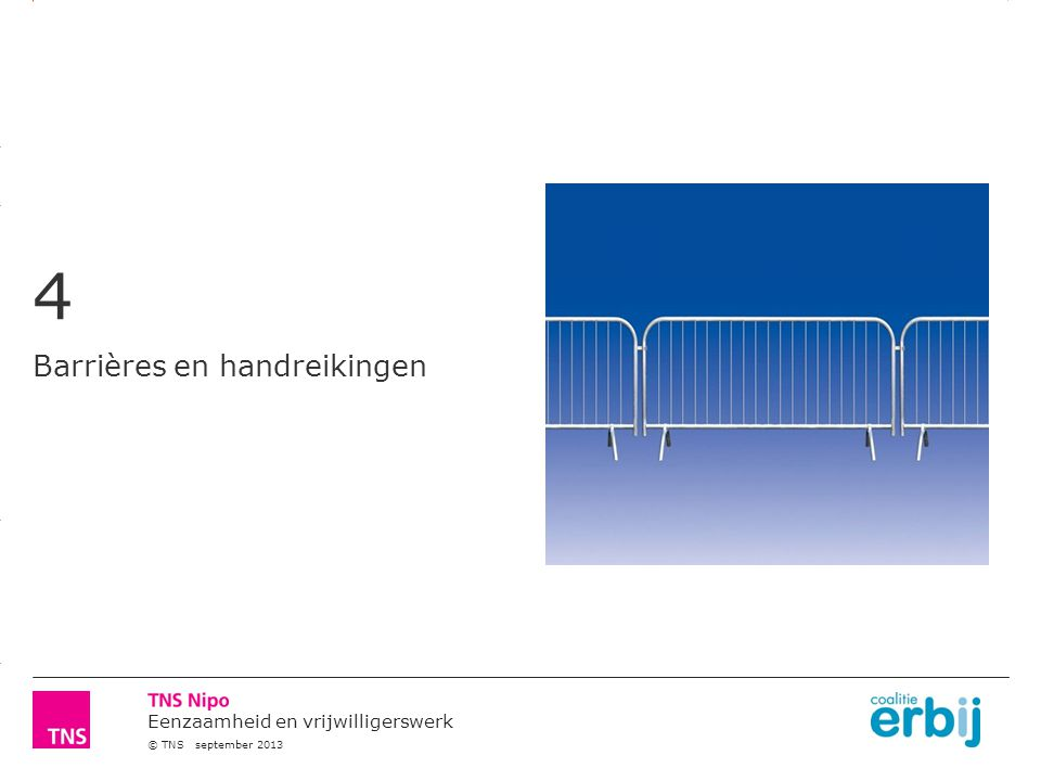 3.14 X AXIS 6.65 BASE MARGIN 5.95 TOP MARGIN 4.52 CHART TOP 11.90 LEFT MARGIN 11.90 RIGHT MARGIN Eenzaamheid en vrijwilligerswerk © TNS september 2013 4 Barrières en handreikingen