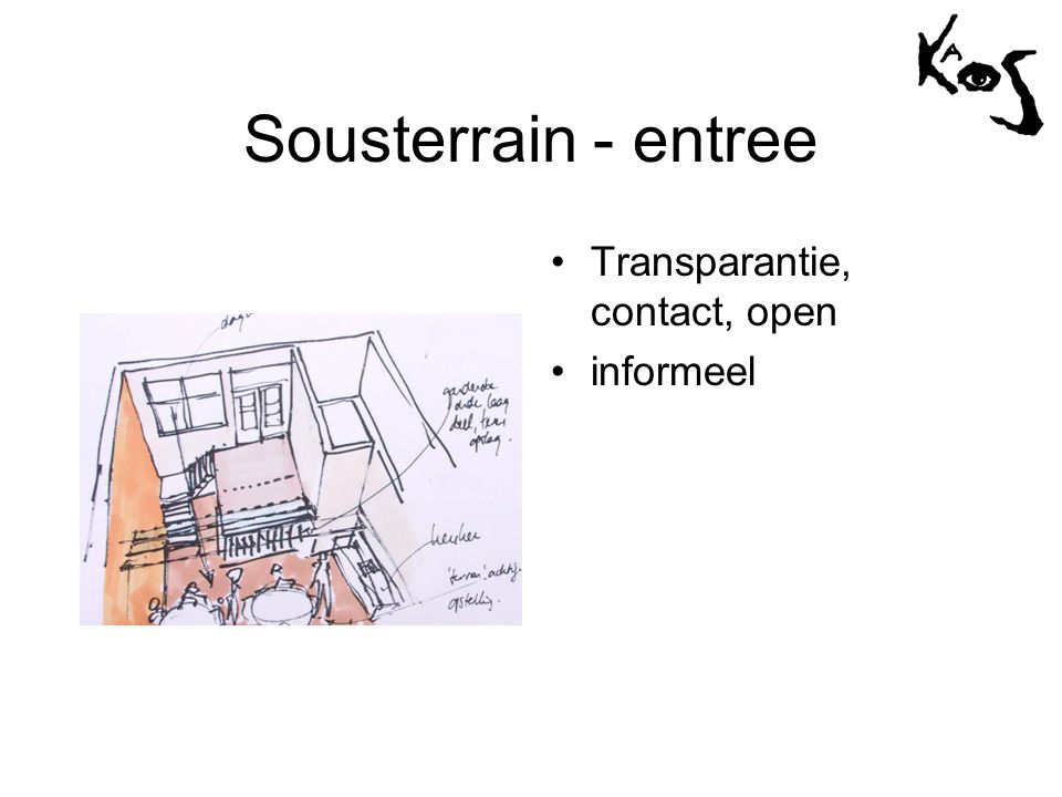 Sousterrain - entree •Transparantie, contact, open •informeel