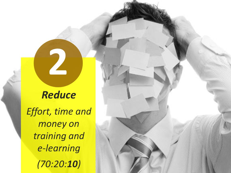 Reduce Effort, time and money on training and e-learning (70:20:10) 2