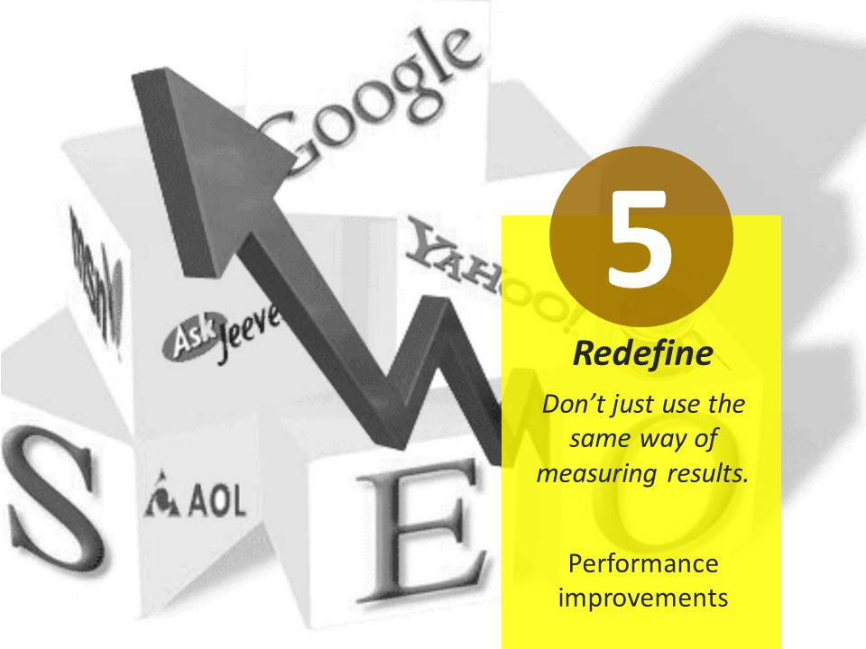 Redefine Don't just use the same way of measuring results. Performance improvements 5