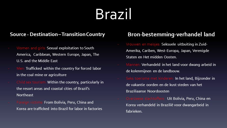Brazil Source - Destination – Transition Country -Women and girls: Sexual exploitation to South America, Caribbean, Western Europe, Japan, The U.S.