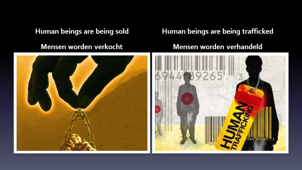 Human beings are being sold Mensen worden verkocht Human beings are being trafficked Mensen worden verhandeld