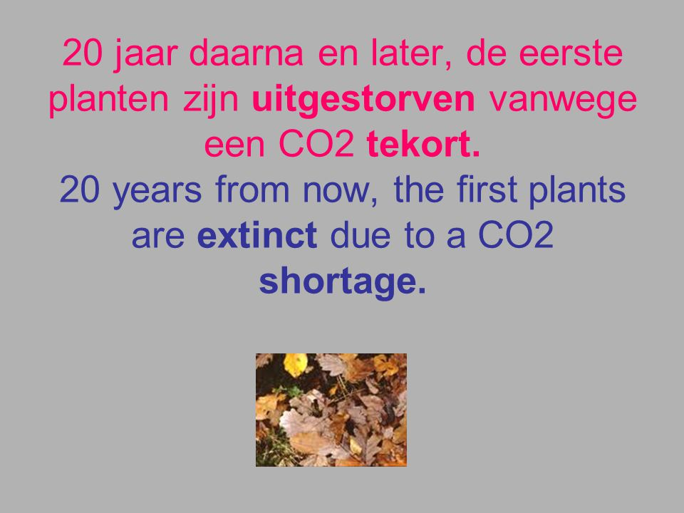 CO2 uitstoot problemen zijn opgelost. CO2 emission problems are solved.