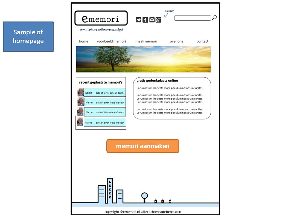 Sample of homepage memori aanmaken