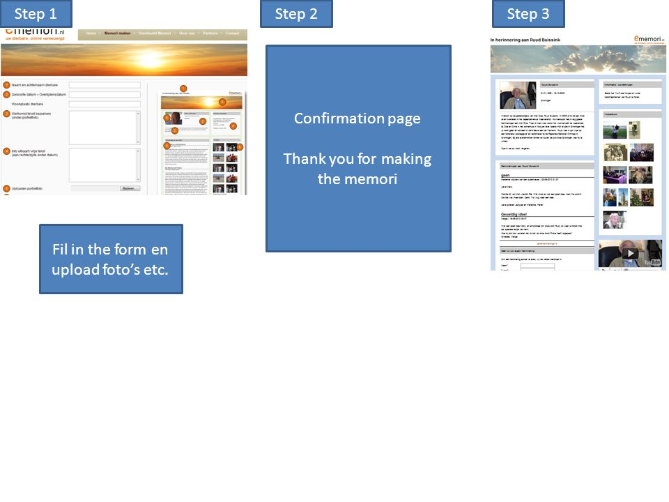 Step 1Step 2Step 3 Confirmation page Thank you for making the memori Fil in the form en upload foto's etc.