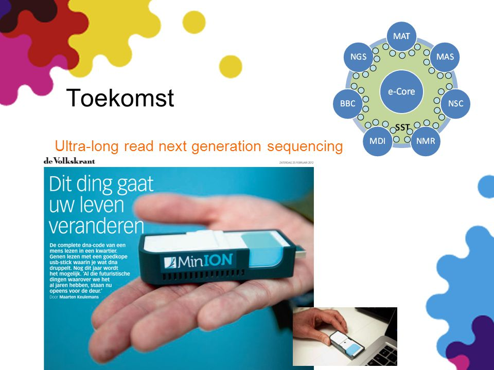 Toekomst (bp/year per person or apparatus) 1977 - 2 Kb 1998 - 20 Mb 2008 - 200 Gb 2010 - 2 Tb 2012 - 20 Tb 2014 - 200 Tb Benchtop 50 k€ Short-read next generation sequencing Ultra-long read next generation sequencing