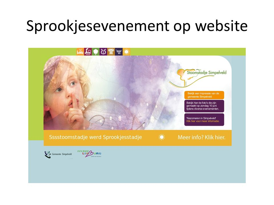 Sprookjesevenement op website