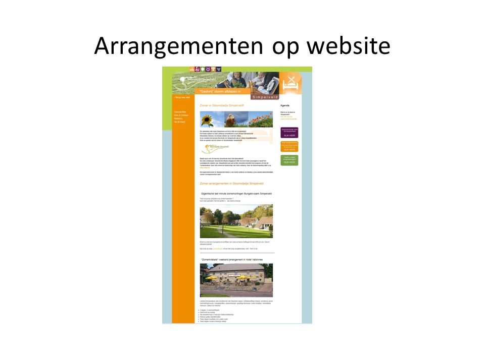 Arrangementen op website