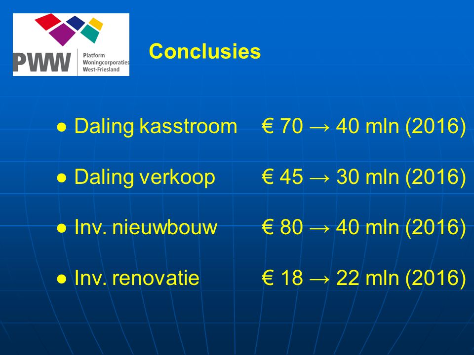 Conclusies ● Daling kasstroom € 70 → 40 mln (2016) ● Daling verkoop € 45 → 30 mln (2016) ● Inv.