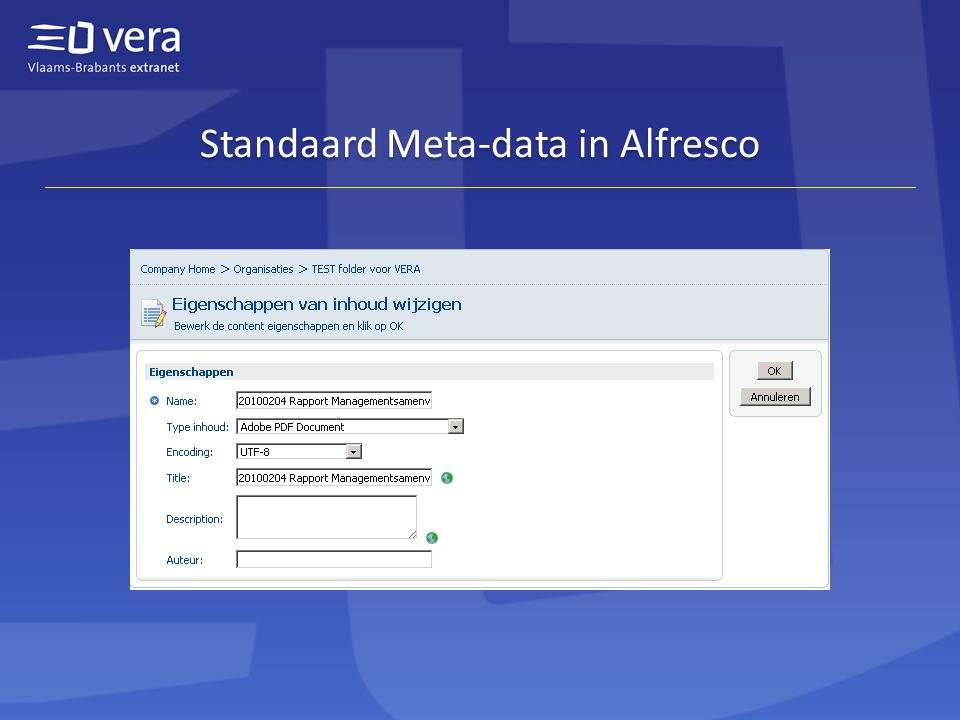 Standaard Meta-data in Alfresco