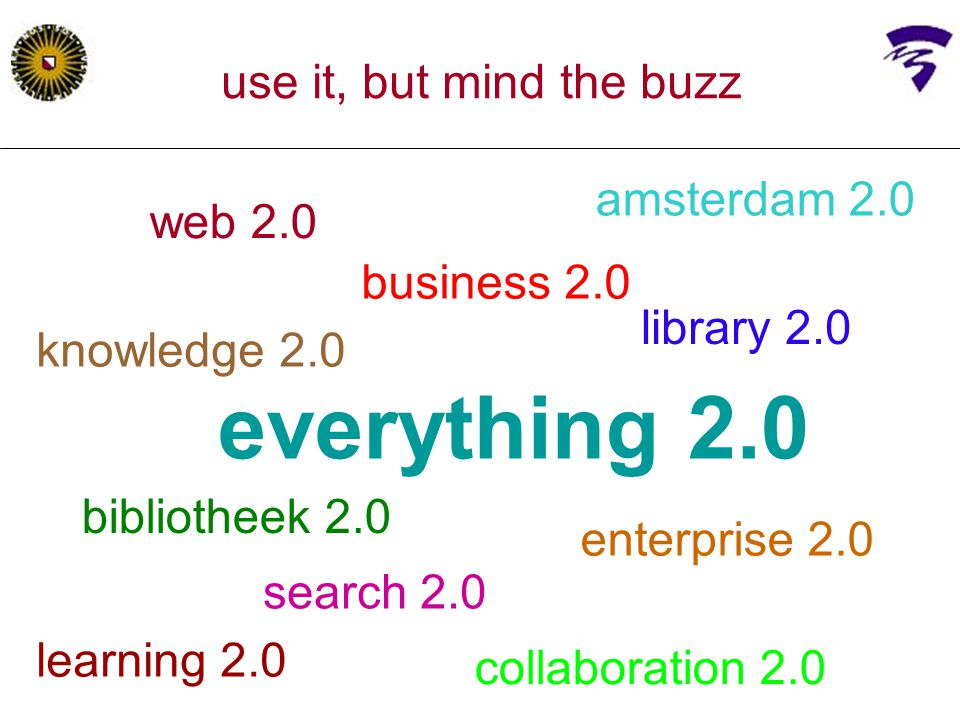 web 2.0 library 2.0 enterprise 2.0 everything 2.0 bibliotheek 2.0 business 2.0 search 2.0 knowledge 2.0 use it, but mind the buzz collaboration 2.0 learning 2.0 amsterdam 2.0