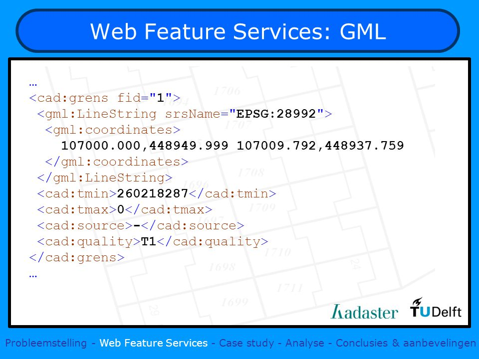 Web Feature Services: GML … , , T1 … Probleemstelling - Web Feature Services - Case study - Analyse - Conclusies & aanbevelingen