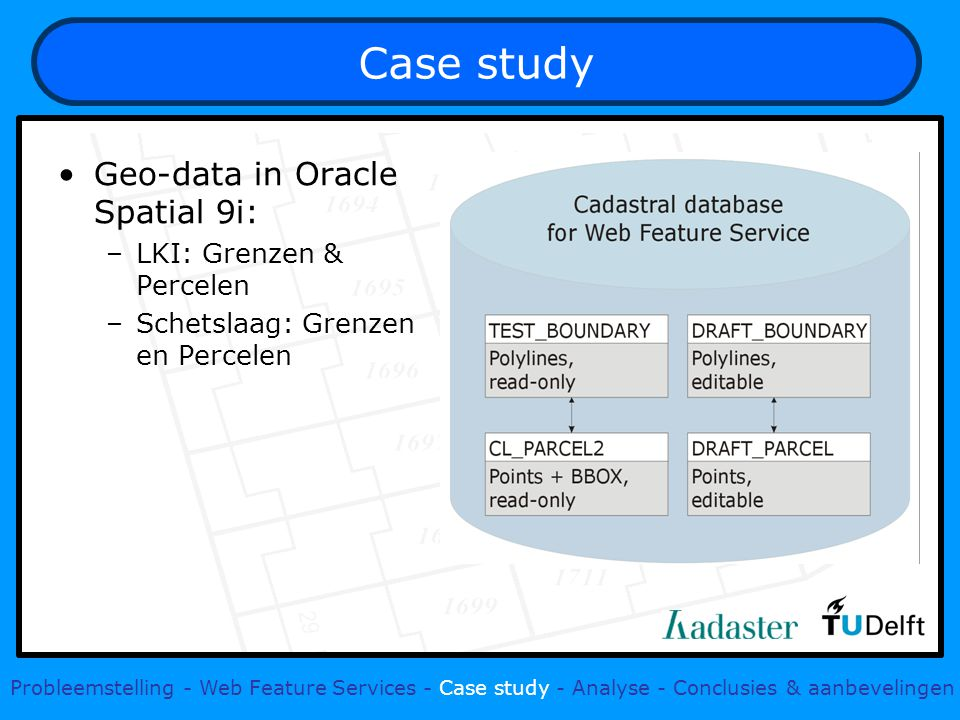 Case study Geo-data in Oracle Spatial 9i: –LKI: Grenzen & Percelen –Schetslaag: Grenzen en Percelen Probleemstelling - Web Feature Services - Case study - Analyse - Conclusies & aanbevelingen