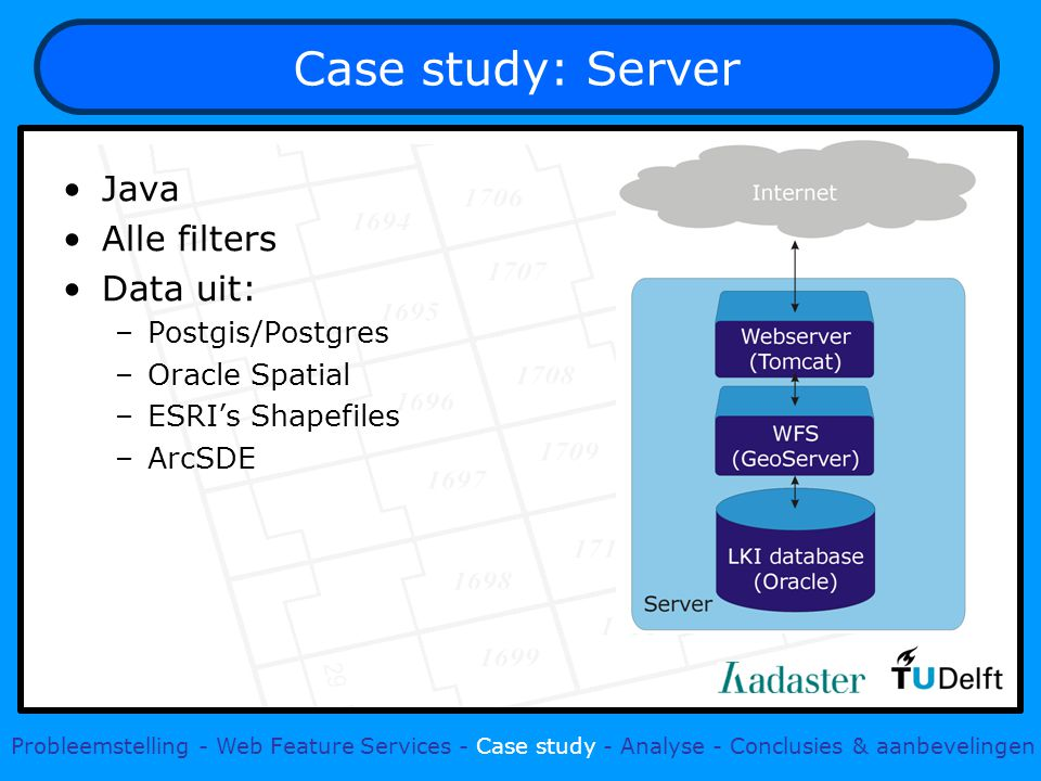 Case study: Server Java Alle filters Data uit: –Postgis/Postgres –Oracle Spatial –ESRI's Shapefiles –ArcSDE Probleemstelling - Web Feature Services - Case study - Analyse - Conclusies & aanbevelingen