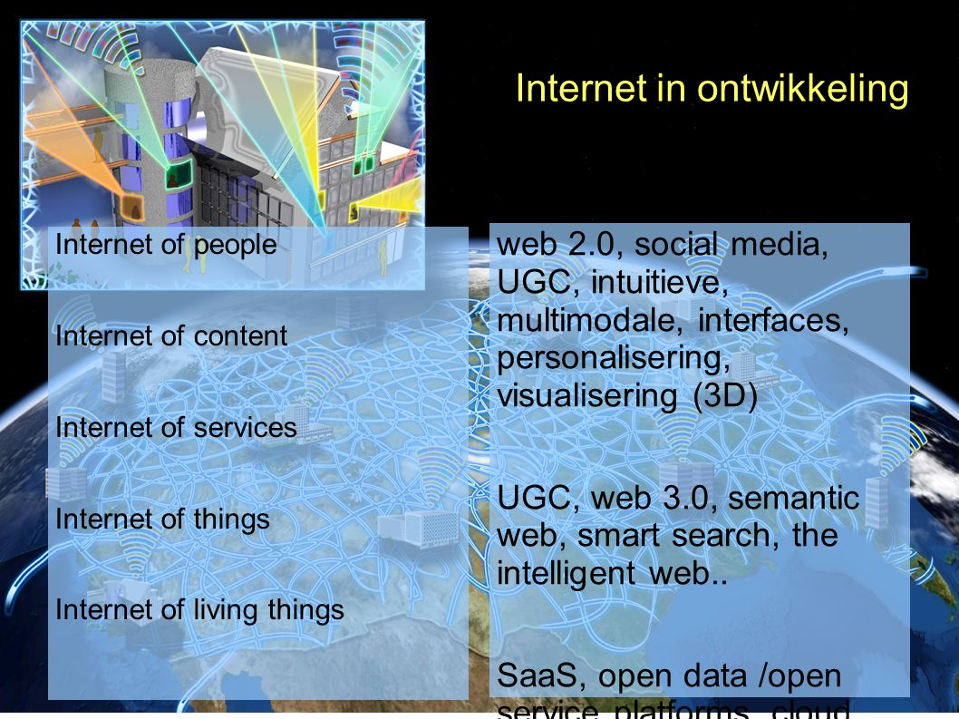 Internet in ontwikkeling Internet of people Internet of content Internet of services Internet of things Internet of living things web 2.0, social media, UGC, intuitieve, multimodale, interfaces, personalisering, visualisering (3D) UGC, web 3.0, semantic web, smart search, the intelligent web..