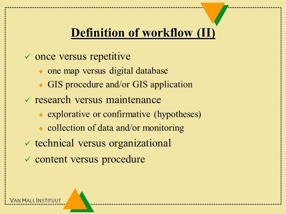 V AN H ALL I NSTITUUT Definition of workflow (II) once versus repetitive t one map versus digital database t GIS procedure and/or GIS application research versus maintenance t explorative or confirmative (hypotheses) t collection of data and/or monitoring technical versus organizational content versus procedure