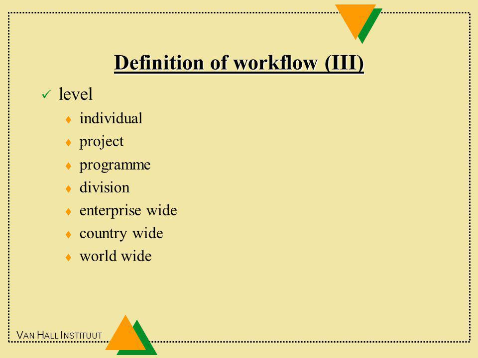 V AN H ALL I NSTITUUT Definition of workflow (III) level t individual t project t programme t division t enterprise wide t country wide t world wide