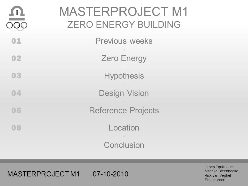MASTERPROJECT M1 · Groep Equilibrium Marieke Steenbeeke Rick van Veghel Tim de Veen MASTERPROJECT M1 ZERO ENERGY BUILDING Previous weeks · Zero Energy · Hypothesis · Design Vision · Reference Projects · Location · Conclusion