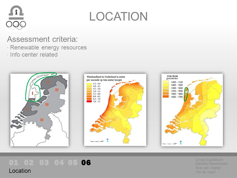 Location LOCATION Groep Equilibrium Marieke Steenbeeke Rick van Veghel Tim de Veen Assessment criteria: · Renewable energy resources · Info center related