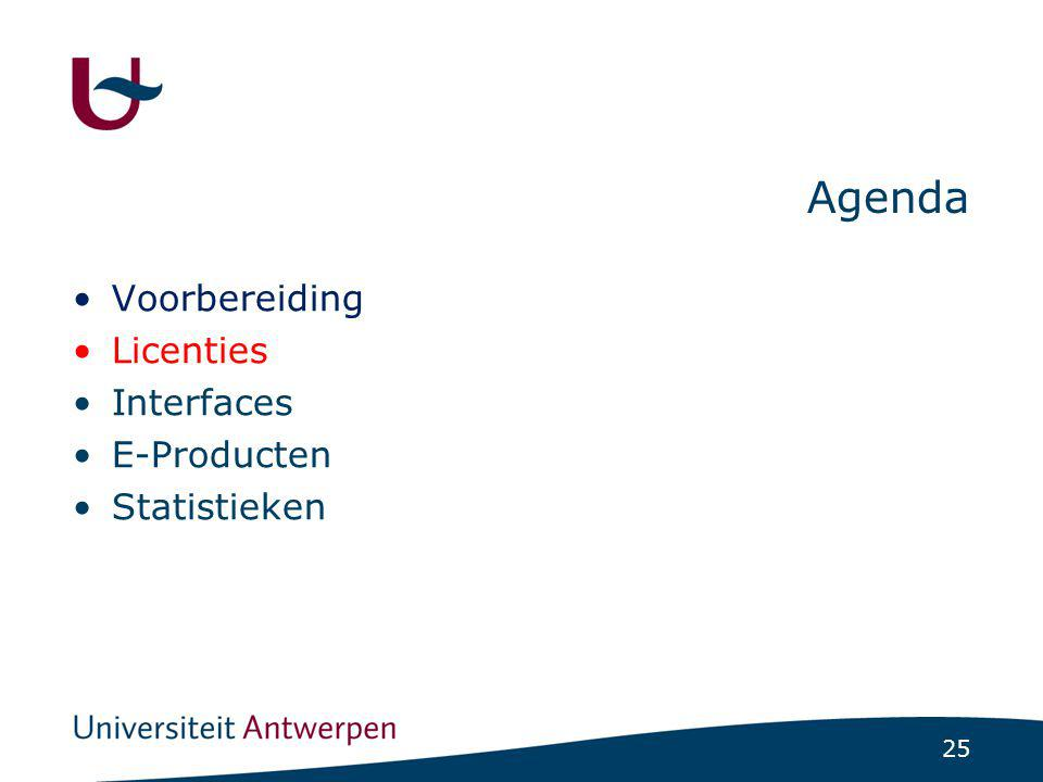 25 Agenda Voorbereiding Licenties Interfaces E-Producten Statistieken