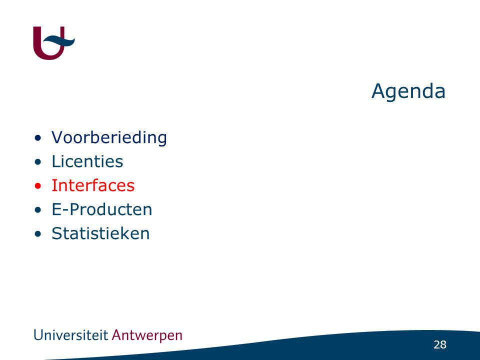 28 Agenda Voorberieding Licenties Interfaces E-Producten Statistieken